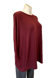 Drop Sleeve Rayon Sweater in Burgundy
