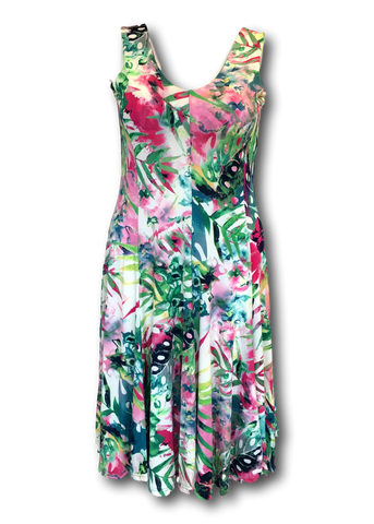 Sleeveless Fit and Flare Dress in Monsterra Leaf Print