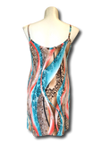 aqua and coral printed tunic slip dress for missy and plus size women