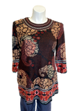 Printed Tunic with Embroidered Neck Line in Black, Brick and Burgandy