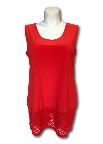 Lacey bottom shell tank top in coral orange for missy and plus size women
