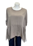 Viscose and Silk Button Sleeve Top in Taupe