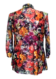 bright floral print stretch lace jacket for missy and plus size women