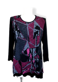 Tunic sweater in pinks and purples for mature women
