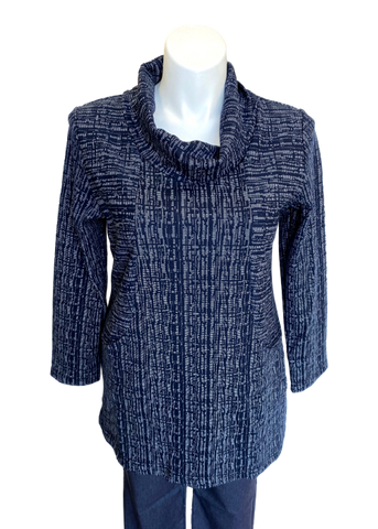 High Loose Turtleneck Pocketed Ponte Sweater Tunic in Navy and White