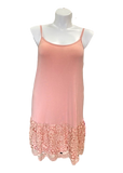 Laced Extender Tunic Slip Dress in Blush