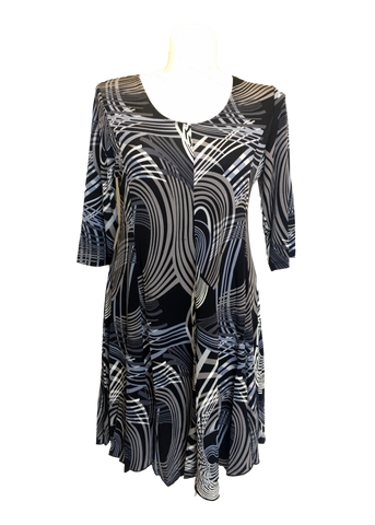 3/4 Fit and Flare Dress Abstract Swirl in Gray and Black