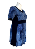 Dark blue colorblock faux midriff dress for missy and plus size women