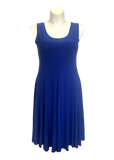 Sleeveless fit and flare dress in royal blue