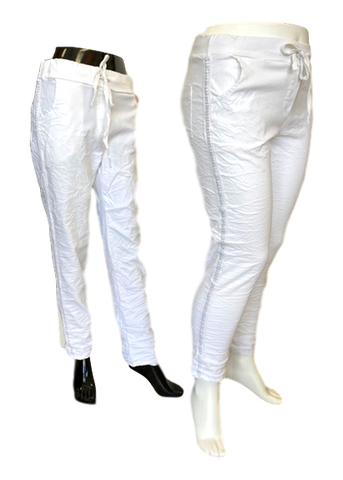 Stretch Viscose Pull on Pant with Shimmer Stripe in White