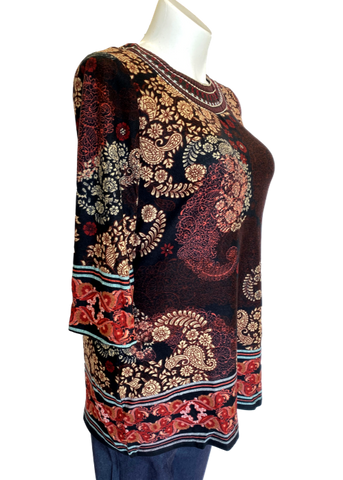 Printed Tunic with Embroidered Neck Line in Black and Wine