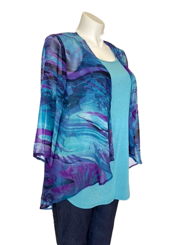 Chiffon Kimono Jacket in Teal and Purple