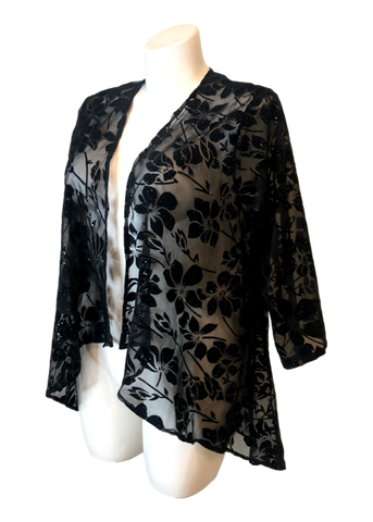 Velvet Burnout Kimono Jacket in Black