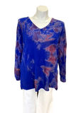 Waffle V-neck  Sweater in Royal Blue Satellite Tie Dye
