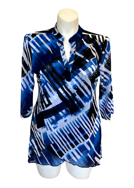 Layered Mesh Mandarin Collar Tunic Top in Royal Blue and White