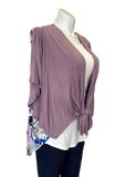 Tie Front Floral Panel Cardigan in Lilac