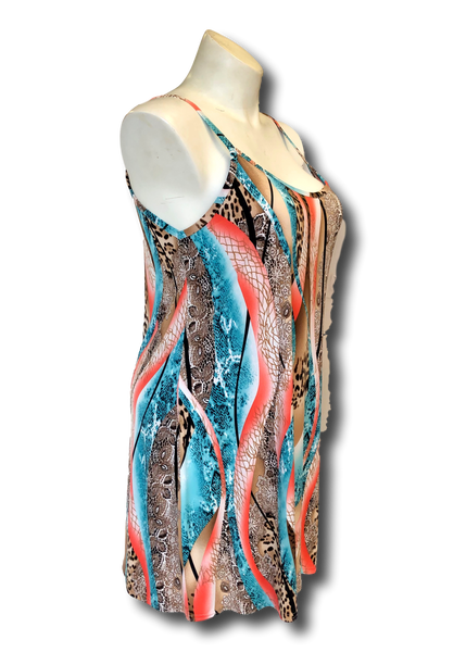 aqua and coral animal printed tunic slip dress for missy and plus size women