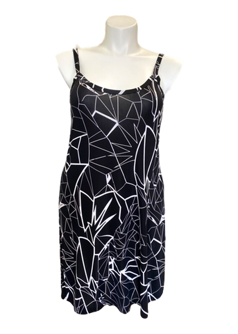 Essential Cami Tunic Slip Dress in Black and White Print