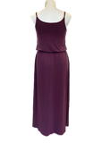 Bloused Spaghetti Strap Maxi Dress with Pockets in Eggplant