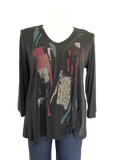 Modal Paint Stroke Printed Top with Gather at Hip in Black