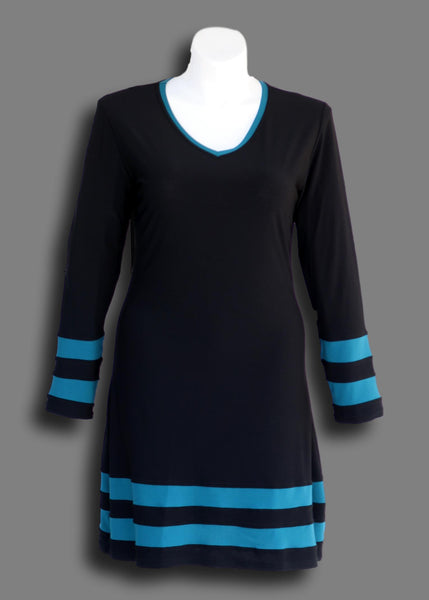 Varsity Stripe Tunic Dress in Teal Stripe