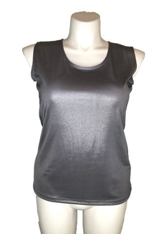 Stretch Lamé Shell Tank Top in Pewter Silver