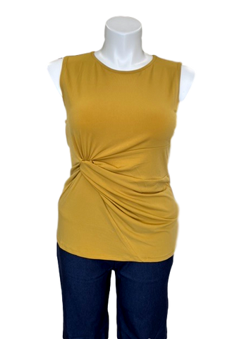 Knot Front Sleeveless Top in Gold