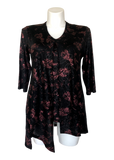 Split Front Shimmer Floral Top in Plum