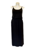 Bloused Spaghetti Strap Maxi Dress with Pockets in Black
