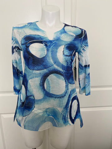 Jess and Jane Chiffon Flutter Tunic Top in Blue Circles