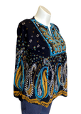Embroidered Top in Black Teal and Gold