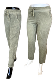 Stretch Viscose Pull on Pant with Shimmer Stripe in Sage