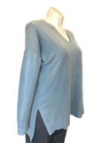 V-neck Center Seam Viscose Sweater in Blue Gray