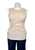 Knot Front Sleeveless Top in Beige