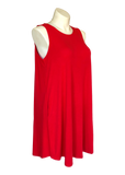 Sleeveless Swing Dress with Pockets in Red