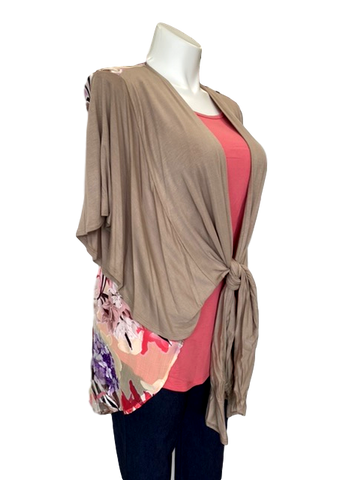 Tie Front Floral Panel Cardigan in Taupe