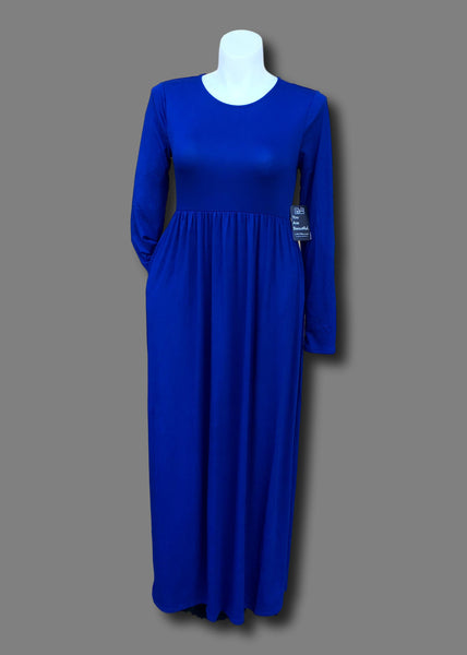 Gathered Waist Pocketed Maxi Dress in Royal Blue