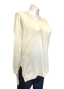 V-Neck Center Seam Viscose Sweater in Cream