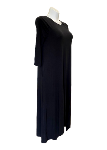 A-Line Pocketed Maxi Dress in Black