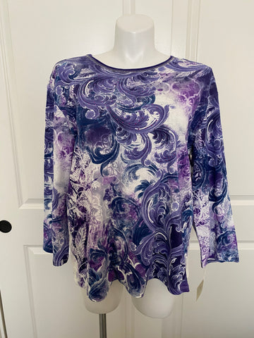 Jess and Jane 3/4 Sleeve Printed Cotton Tee in Purple Sparkle