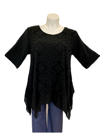 plus size crochet overlay short sleeve tunic top with handkerchief hemline.
