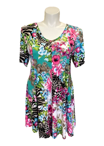 Short Sleeved Fit and Flare Tunic Dress in Jungle Floral