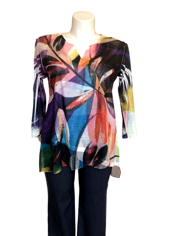 Slit V-Neck Tunic with Chiffon Flutter in Multi Colored Floral