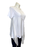 Short Sleeved Viscose and Silk Handkerchief Hem Top in White