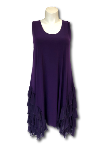 midi length ruffled side sleeveless tank dress in purple for missy and full figured women