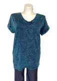 short sleeved mineral washed cotton tunic top in teal