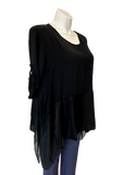 Viscose and Silk Button Sleeve Top in Black