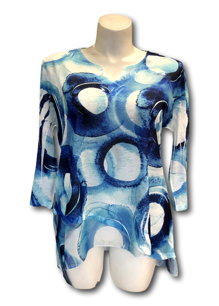 v-neck chiffon tunic top with a circle pattern in shades of blue for missy and plus sizes
