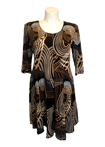 3/4 Fit and Flare Dress Abstract Swirl in Taupe and Brown