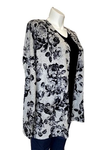 Pocketed Cardigan in Gray Floral